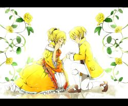 1boy 1girl aku_no_meshitsukai_(vocaloid) aku_no_musume_(vocaloid) blonde_hair bloom bow brother_and_sister brown_shoes buttons choker crying dress earrings evillious_nendaiki eyes_closed flower frilled_dress frills glowing hair_bow hair_ornament hair_ribbon hairclip hand_on_own_cheek highres holding_hand jacket jewelry kagamine_len kagamine_rin kneeling leaf long_sleeves neo_kabocha orange_ribbon plant ponytail reflection ribbon rose shoes shorts siblings smile sparkle tears twins updo vines vocaloid white_legwear yellow_dress yellow_flower yellow_jacket