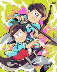 >:> 2boys arrow bow_(weapon) brothers brown_hair drawing_bow formal green_background green_eyes jacket kabosu male_focus matsuno_choromatsu matsuno_todomatsu multiple_boys necktie open_clothes open_jacket osomatsu-kun osomatsu-san pink_eyes polearm siblings simple_background splatter suit weapon