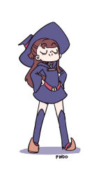 1girl belt brown_hair eyes_closed findo hands_on_hips kagari_atsuko little_witch_academia long_hair short_dress smile solo thigh_boots white_background witch witch_hat
