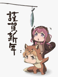 1boy 1girl animal_costume blonde_hair bow brown_eyes chibi commentary_request facial_hair fish fox_costume girlish_number hair_bow happy_new_year highres karasuma_chitose_(girlish_number) kuzu-p new_year no_nose open_mouth red_eyes red_hair stubble tanuki_costume translated windwillows