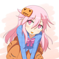 1girl blush candy cato_(monocatienus) food_in_mouth hata_no_kokoro lollipop long_hair looking_at_viewer mask mask_on_head pink_eyes pink_hair pumpkin smile solo touhou