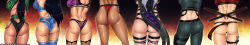 6+girls ass highres jade_(mortal_kombat) kitana mileena mortal_kombat multiple_girls preyingphantom sheeva sindel skarlet sonya_blade sword weapon