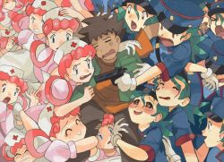 >o< 1boy 6+girls ^_^ angry apron between_legs blush brown_hair clenched_teeth dark_skin dark_skinned_male eyelashes eyes_closed girl_sandwich gloves green_hair gun handgun happy harem hat jacket joy_(pokemon) junsaa_(pokemon) lipstick makeup multiple_girls nurse nurse_cap open_mouth pants phil_dragash pink_hair pistol pokemon pokemon_(anime) police police_uniform policewoman puffy_short_sleeves puffy_sleeves red_cross red_eyes sandwiched shirt short_sleeves smile spiked_hair symbol-shaped_pupils takeshi_(pokemon) tears teeth twintails uniform wavy_mouth weapon