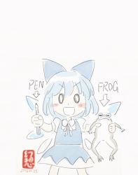 0_0 1girl animal blue_dress blue_hair blush_stickers bow cirno dated directional_arrow dress english female frog gensoukoumuten hair_bow hair_ribbon highres holding_animal ice ice_wings pale_color parody pen pen-pineapple-apple-pen ribbon short_hair signature solo touhou white_background wings