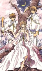 1girl 2boys absurdres barefoot brown_eyes brown_hair cherry_blossoms clamp dress dual_persona highres looking_at_viewer moon multiple_boys outdoors sakura_hime see-through short_hair tree tsubasa_chronicle xiaolang