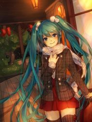 1girl dutch_angle green_hair hand_on_own_chest hatsune_miku houndstooth jewelry long_hair looking_at_viewer ring run_(sweettimehappy) scarf skirt smile solo thighhighs tree twintails very_long_hair vocaloid