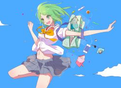 1girl :d blue_sky candy gnosis_(ylyk) green_eyes green_hair groin gumi highres midriff navel open_mouth skirt sky smile solo summer vocaloid