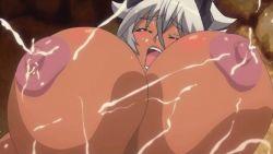 animated animated_gif areolae blue_eyes blush breasts buta_no_gotoki_sanzoku_ni_torawarete_shojo_o_ubawareru_kyonyuu_himekishi_&_onna_senshi:_zettai_chinpo_nanka_ni_maketari_shinai!!_the_animation censored erect_nipples erectlip gigantic_breasts helga_(buta_no_gotoki) lactation nipples nude orgasm rape sex