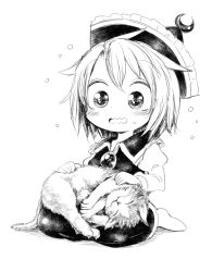 1girl :3 blush brooch cat crescent flying_sweatdrops harusame_(unmei_no_ikasumi) hat jewelry long_sleeves lunasa_prismriver monochrome short_hair sitting smile socks solo sweatdrop touhou wavy_mouth