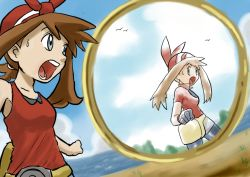 2girls armpit bandanna bike_shorts bird blue_eyes brown_hair cloud collarbone different_reflection dual_persona fanny_pack gasp grass haruka_(pokemon) haruka_(pokemon)_(remake) looking_at_mirror mirror multiple_girls pokemon pokemon_(game) pokemon_oras portal_(object) sea shock sweat water