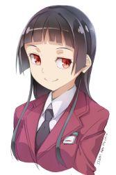 1girl black_hair blazer bust highres hime_cut long_hair necktie original payot red_eyes school_uniform smile solo ycums