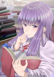 1girl absurdres book book_stack dated eyes_visible_through_hair hair_ribbon hand_on_own_cheek highres light_frown long_hair long_sleeves no_hat no_headwear open_book patchouli_knowledge purple_eyes purple_hair reading ribbon robe rushian sidelocks signature solo touhou tress_ribbon