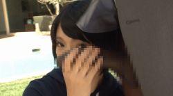 1boy 1girl abeno_miku animated animated_gif asian censored dandy-400 dark_skin hetero interracial japanese penis penis_on_head photo
