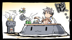 1boy 4girls :3 :d =3 =d admiral_(kantai_collection) airplane brown_hair cha_(kantai_collection) character_request chibi cup fairy_(kantai_collection) green_eyes hiyoko_(kantai_collection) ishiki_(okota) kantai_collection kotatsu midori_(kantai_collection) multiple_girls open_mouth rashinban_musume rensouhou-chan size_difference smile table teacup teapot translation_request |_|
