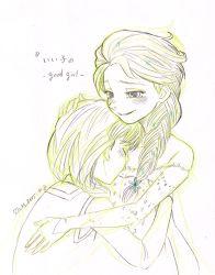 2girls anna_(frozen) couple elsa_(frozen) frozen_(disney) hug incest monochrome multiple_girls siblings sisters tom_(tomfrozen) yuri