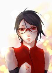 1girl black_hair detached_sleeves glasses naruto naruto_gaiden parted_lips red_eyes sharingan short_hair solo tears uchiha_sarada upper_body