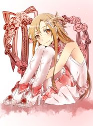 1girl asuna_(sao) brown_eyes brown_hair dress getsuyoubi high_heels leg_hug long_hair pantyhose smile sword_art_online
