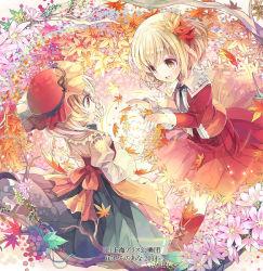 2girls :d aki_minoriko aki_shizuha blonde_hair fruit_punch hair_ornament leaf leaf_hair_ornament mob_cap multiple_girls open_mouth short_hair smile touhou yellow_eyes