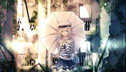 1girl 2014 air_conditioner ama_no_jaku_(vocaloid) black_legwear building closed_mouth curtains door frown gumi hat ikuhiro_(19nnnkti16) japanese long_sleeves looking_at_viewer pale_skin pleated_skirt purple_eyes ruins short_hair skirt smile solo song_name standing striped thighhighs torn umbrella vines vocaloid white_hair zettai_ryouiki