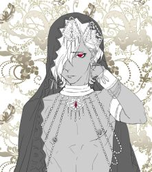 1boy alternate_costume arm_up babo_(artist) bracer cape choker closed_mouth dark_skin diabolik_lovers earrings eyelashes flat_color floral_print flower hair_over_one_eye jewelry leaves looking_at_viewer male_focus monochrome necklace nipples red_eyes sakamaki_subaru shirtless simple_background solo spot_color upper_body white_background