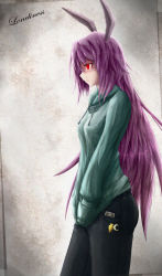 animal_ears bunny_ears cellphone cellphone_strap contemporary denim english hands_in_pockets jeans kanchigai long_hair pants phone profile purple_hair red_eyes reisen_udongein_inaba sweater touhou