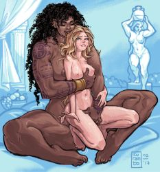2girls ahegao barefoot black_hair blonde_hair bracelet breast_grab breasts crying curanto curly_hair dark_skin dated eyes_closed feet female full_body half-closed_eyes happy_sex happy_tears height_difference interracial jewelry large_breasts lip_biting multiple_girls muscle navel size_difference sweat tattoo tears toned yuri