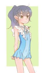 1girl akari_(raigou) blue_hair female original pale_color ponytail raigou solo standing