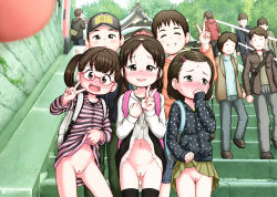 3girls 6+boys backpack blush censored cleft_of_venus exhibitionism flat_chest glasses happy lasto loli looking_at_viewer mound_of_venus multiple_boys multiple_girls navel no_panties outside presenting pussy randoseru skirt skirt_lift smile source_request stairs sweat thighhighs v zenra