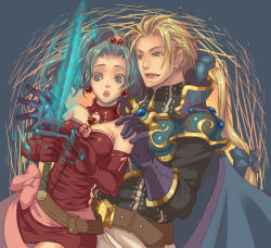 1boy 1girl armor blonde_hair earrings edgar_roni_figaro elbow_gloves final_fantasy final_fantasy_vi gloves green_hair jewelry long_hair magic surprised sword tina_branford