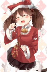 1girl :d animal_hat bell blush brown_hair cat_hat eyes_closed fang hat heart kantai_collection long_hair open_mouth pantyhose pleated_skirt ryuujou_(kantai_collection) santa_costume shijima_(sjmr02) shikigami skirt smile solo twintails twitter_username white_legwear