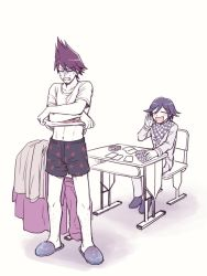 2boys black_hair card checkered_scarf clothes_removed danganronpa facial_hair gambling goatee hairy_legs male_focus momota_kaito multiple_boys new_danganronpa_v3 open_mouth ouma_kokichi pale_face pants playing_card playing_games purple_eyes purple_hair scarf school_uniform shame simple_background slippers smile space_print spiked_hair starry_sky_print straitjacket undressing