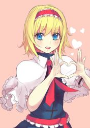 1girl :d alice_margatroid blonde_hair blue_dress blue_eyes blush capelet culter dress eyelashes hairband heart heart_hands open_mouth pink_background red_ribbon ribbon short_hair signature simple_background smile solo touhou