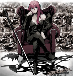 1girl arm_rest black_boots boots breasts chair chemise collarbone full_body green_eyes head_rest headphones jacket jinbei legs_crossed medium_breasts megurine_luka off_shoulder pink_hair sitting skull solo spaghetti_strap sword tattoo vocaloid weapon