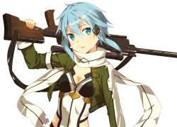 1girl blue_eyes blue_hair hair_ornament kinta_(distortion) over_shoulder scarf shinon_(sao) short_hair simple_background small_breasts sniper solo sword_art_online upper_body weapon weapon_over_shoulder white_background