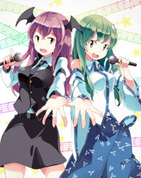 2girls bat_wings cookie_(touhou) detached_sleeves duet frog frog_hair_ornament green_eyes green_hair hair_ornament head_wings koakuma kochiko_(cookie) kochiya_sanae long_hair microphone multiple_girls musical_note necktie open_mouth outstretched_arm paseri_(cookie) red_eyes red_hair singing smile snake snake_hair_ornament star touhou vest wings yoshinaga_p