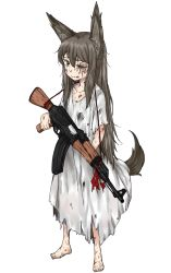 1girl ak-47 assault_rifle barefoot battle_scarred black_hair green_eyes gun highres rifle weapon