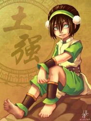 1girl ankle_cuffs avatar:_the_last_airbender barefoot black_hair chinese_clothes cuffs dirty_feet feet hair_bun nickelodeon rock sitting smile soles toph_bei_fong