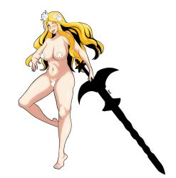 1girl ;p blonde_hair blue_eyes blush breasts code_of_princess crown flower hair_flower hair_ornament highres large_breasts long_hair maebari navel nude one_eye_closed pasties plump shoji-ikari solange_blanchefleur_de_luxe solo sword tongue tongue_out weapon wink