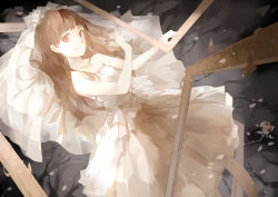 1girl absurdres brown_eyes brown_hair dress highres ib ib_(ib) long_hair lying nine_(liuyuhao1992) picture_frame smile solo wedding_dress