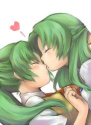 2girls blush eyes_closed green_hair heart higurashi_no_naku_koro_ni incest kiss long_hair multiple_girls nori_senbei nose_kiss school_uniform siblings sisters sonozaki_mion sonozaki_shion sweatdrop twincest twins yuri
