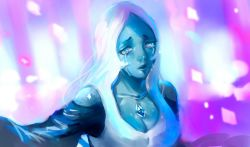 1girl blue_diamond_(steven_universe) blue_dress blue_eyes blue_skin breasts cleavage crying dress gem long_hair looking_at_viewer silver_hair solo spoilers steven_universe strapless strapless_dress tears upper_body very_long_hair zzpopzz_(custard_saccharin)