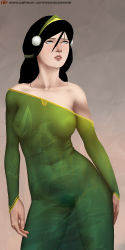 avatar:_the_last_airbender black_hair blind dress green_dress older pubic_hair see-through toph_bei_fong transparent_clothes