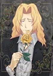 1boy bleach blonde_hair flower leaf long_hair one_eye_closed ootoribashi_roujuurou petals purple_eyes rose rose_petals solo yellow_rose