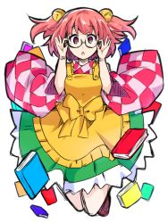 1girl :o adjusting_glasses apron bell black-framed_eyewear blush book checkered_shirt glasses hair_bell hair_ornament ishimu japanese_clothes jingle_bell kimono looking_at_viewer motoori_kosuzu red_eyes red_hair semi-rimless_glasses shirt short_hair solo touhou triangle_mouth two_side_up under-rim_glasses wide_sleeves