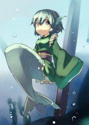 1girl blue_eyes blue_hair hashiro highres japanese_clothes kimono mermaid monster_girl short_hair smile touhou underwater wakasagihime