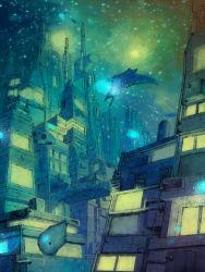 blue bridge bubble city fish highres manta_ray no_humans original scenery underwater usatarosu window