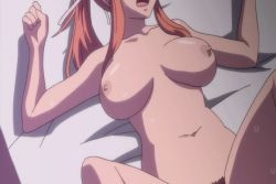 animated animated_gif bounce bouncing_breasts breasts censored character_request cleavage female huge_breasts missionary moaning orange_hair sex sweat yobai_suru_shichinin_no_harame