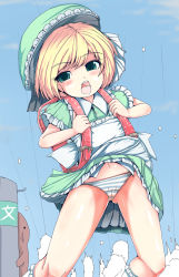 1girl backpack bangs blonde_hair blush copyright_request dress dress_lift eyebrows eyebrows_visible_through_hair frilled_legwear frills gluteal_fold hat kagemi_riomone loli looking_at_viewer navel open_mouth panties randoseru short_sleeves solo_focus striped striped_panties teeth tongue underwear white_legwear