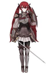 1girl armor cryopon fire_emblem fire_emblem_if full_body gauntlets greaves highres holding holding_sword holding_weapon looking_at_viewer red_eyes red_hair selena_(fire_emblem) shield simple_background skirt solo solo_focus sword twintails weapon