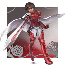 1girl armor ashijirou black_hair breastplate cape clenched_hand faulds foreshortening full_armor greaves pants pauldrons pixiv_fantasia pixiv_fantasia_new_world red_eyes short_hair solo sword weapon